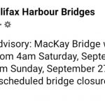 MacKay Bridge will be closed from 4am Saturday, September 26 until 10pm Sunday, September 27