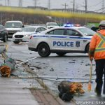 Police remain on scene of a motor vehicle collision in Dartmouth.