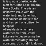 HRM has issued a water alert for the Grand Lake area